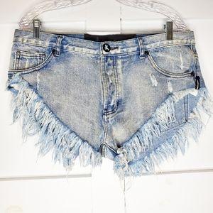 Women's One Teaspoon Blue Cut Off Jean Shorts 30